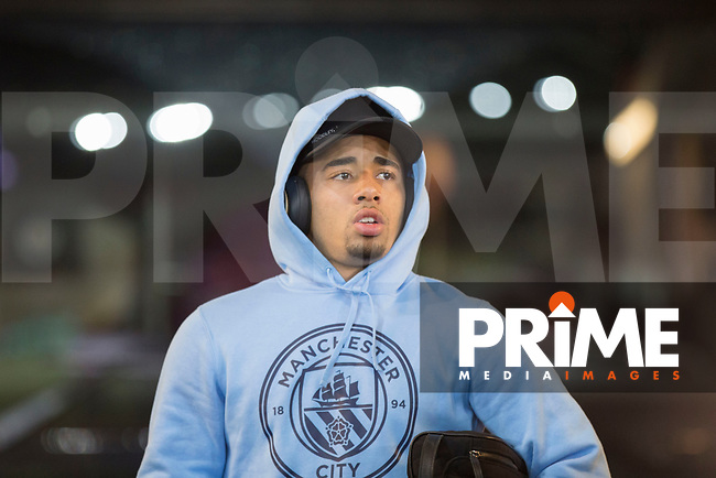 Gabriel Jesus of Manchester City arrives for the EPL - Premier League match between Swansea City and Manchester City at the Liberty Stadium, Swansea, Wales on 13 December 2017. Photo by Mark  Hawkins / PRiME Media Images.