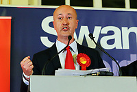 Pictured: Geraint Davies, Swansea West Labour candidate gives a speech after he is announced as the winner. Friday 09 June 2017<br /> Re: Counting of ballots at Brangwyn Hall for the general election in Swansea, Wales, UK