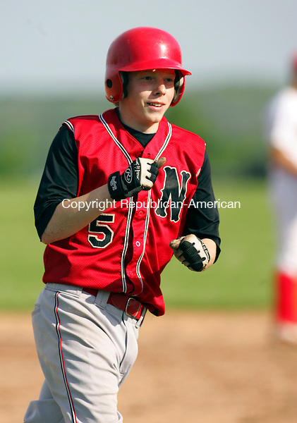 LLITCHFIELD, CT- MAY 14 2010-051410JS01-Northwestern's Drew Grodon (5) rounds third on his way home after blasting a 2-RBI home run during their 7-5 win over Wamogo Friday at Wamogo Regional High School in Litchfield. <br /> Jim Shannon Republican-American