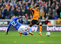 Birmingham City's Harlee Dean is sent off for a foul on Wolverhampton Wanderers' Helder Costa<br /> <br /> Photographer Ashley Crowden/CameraSport<br /> <br /> The EFL Sky Bet Championship - Wolverhampton Wanderers v Birmingham City - Sunday 15th April 2018 - Molineux - Wolverhampton<br /> <br /> World Copyright &copy; 2018 CameraSport. All rights reserved. 43 Linden Ave. Countesthorpe. Leicester. England. LE8 5PG - Tel: +44 (0) 116 277 4147 - admin@camerasport.com - www.camerasport.com