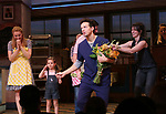 Betsy Wolfe, Victoria Collett, Sara Bareilles and Jason Mraz take a bow at the curtain call of Broadway's 'Waitress' at The Brooks Atkinson Theatre on November 3, 2017 in New York City.