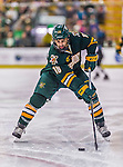 17 October 2015:  University of Vermont Catamount Defenseman Alexx Privitera, a Senior from Old Tappan, NJ, in first period action against the University of Nebraska Omaha Mavericks at Gutterson Fieldhouse in Burlington, Vermont. The Catamounts fell to the Mavericks 3-1. Mandatory Credit: Ed Wolfstein Photo *** RAW (NEF) Image File Available ***