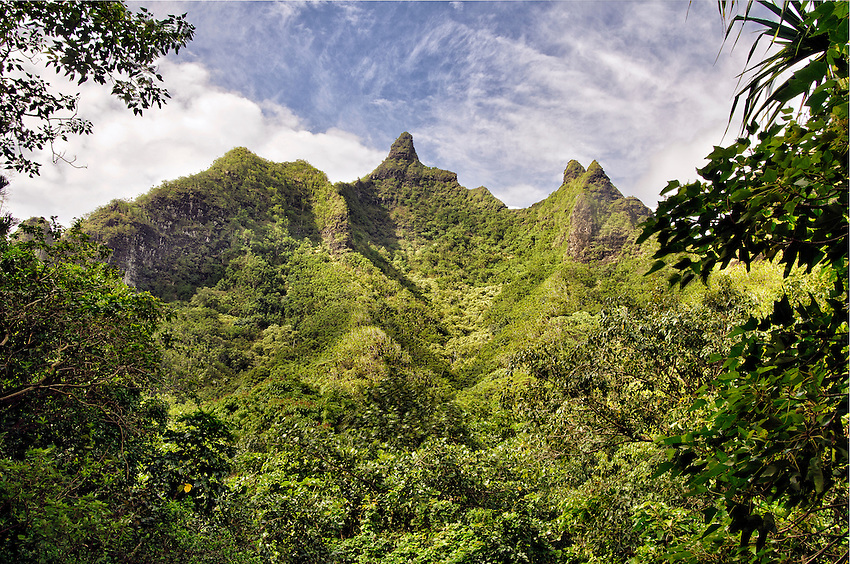 Makana Ridge, as seen from a spot in the Limahuli Garden, Haena, Kauai, Hawaii