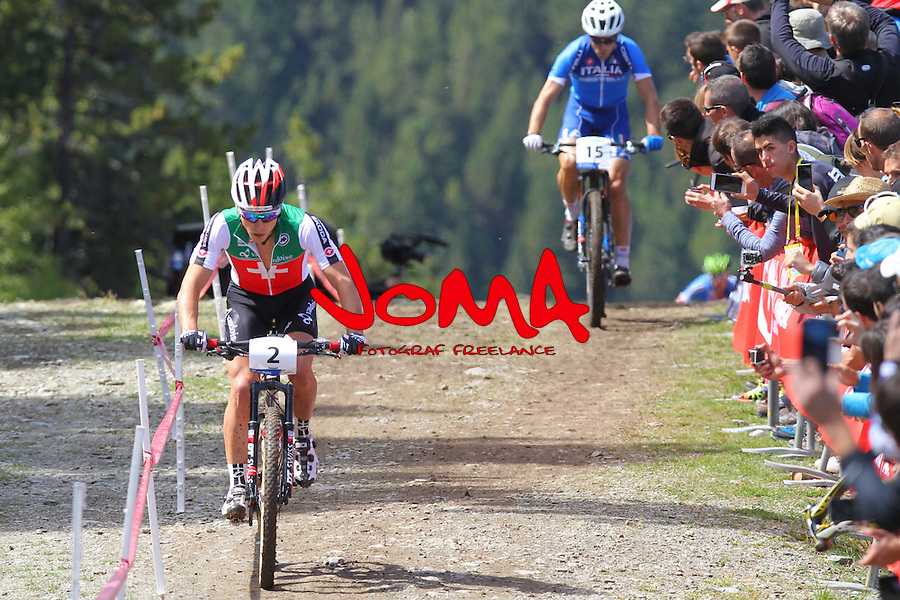 05.09.2015 La Massana Andorra. 201 UCI Mountain Bike World Champions.Picture show Schuster Nino (SUI) in action during Men ELite Cross-country Olympic World Champions