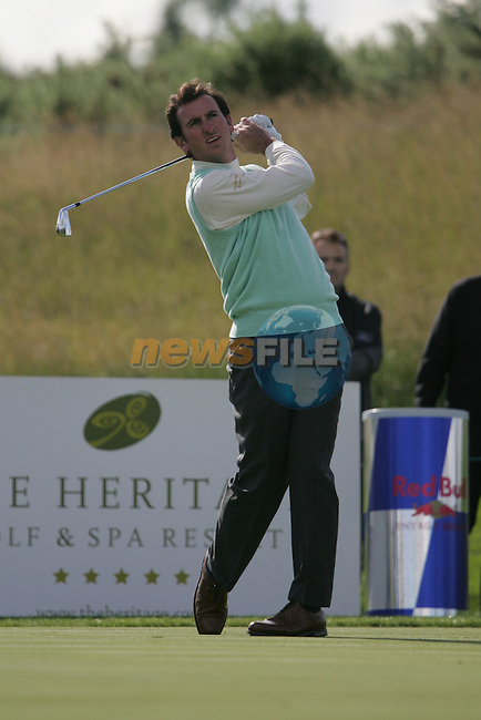 Gonzalo Fernandez-Castano tees off on the par 3 7th hole during the first round of the Seve Trophy at The Heritage Golf Resort, Killenard,Co.Laois, Ireland 27th September 2007 (Photo by Eoin Clarke/GOLFFILE)