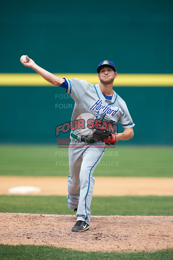 Hartford Yard Goats relief pitcher Konner Wade (30) delivers a pitch during a game against the Binghamton Rumble Ponies on July 9, 2017 at NYSEG Stadium in Binghamton, New York.  Hartford defeated Binghamton 7-3.  (Mike Janes/Four Seam Images)