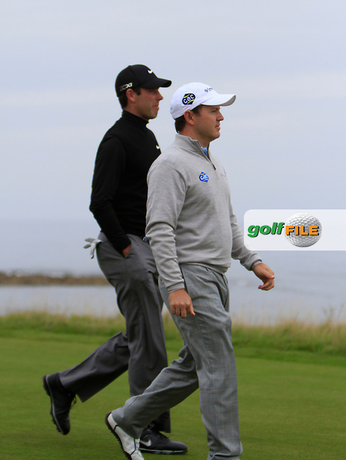 Charl Schwartzel (RSA) and Richard Sterne (RSA) during Round 2 of the Alfred Dunhill Links Championship at Kingsbarns Golf Club on Friday 27th September 2013.<br /> Picture:  Thos Caffrey / www.golffile.ie