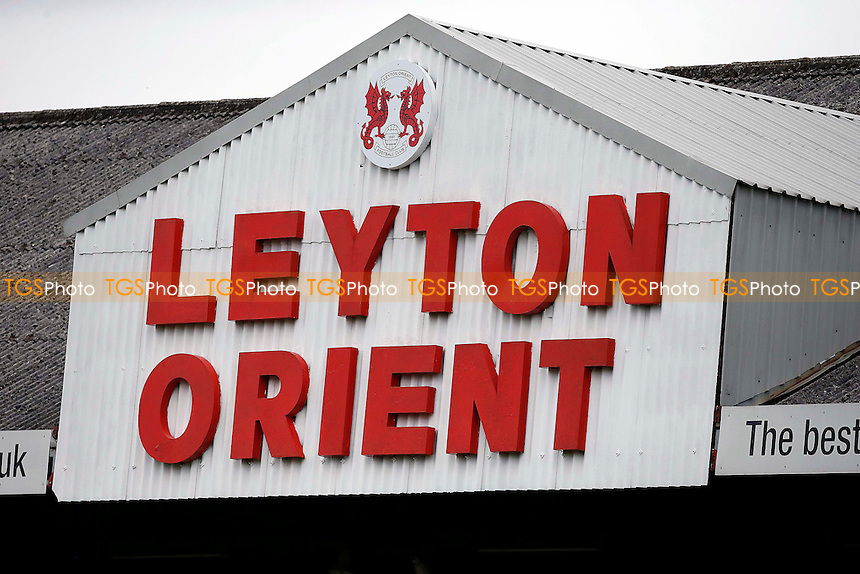 The Leyton Orient sign on the roof of the East Stand during Leyton Orient vs Blackpool, Sky Bet EFL League 2 Football at the Matchroom Stadium on 19th November 2016