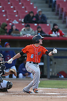 Kody Eaves (6) of the Inland Empire 66ers bats during a game against the High Desert Mavericks at Mavericks Stadium on May 6, 2015 in Adelanto, California. Inland Empire defeated High Desert, 10-4. (Larry Goren/Four Seam Images)