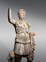 Roman statue of Emperor Trajan . Marble. Perge. 2nd century AD. Inv no . Antalya Archaeology Museum; Turkey.