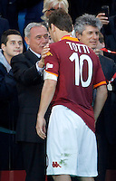 Calcio, finale di Coppa Italia: Roma vs Lazio. Roma, stadio Olimpico, 26 maggio 2013..Italian Senate President Pietro Grasso, left, comforts AS Roma forward Francesco Totti at the end of the Italian Cup football final match between AS Roma and Lazio at Rome's Olympic stadium, 26 May 2013. Lazio won 1-0..UPDATE IMAGES PRESS/Isabella Bonotto....