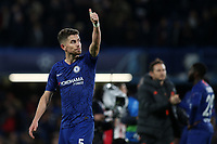 Jorginho of Chelsea acknowledges the home fans at the final whistle during Chelsea vs AFC Ajax, UEFA Champions League Football at Stamford Bridge on 5th November 2019
