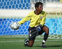 23 August 2004:  Briana Scurry in action during warm-up practice before the game against Germany during the semifinal game at Pankritio Stadium in Heraklio, Greece.     USA defeated Germany, 2-1 in overtime.   Credit: Michael Pimentel / ISI