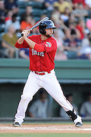 First baseman Sam Travis (28) of the Greenville Drive bats in a game against the Lexington Legends on Sunday, August 31, 2014, at Fluor Field at the West End in Greenville, South Carolina. Travis is a second-round pick of the Boston Red Sox in the 2014 First-Year Player Draft out of the Indiana University. Greenville won, 3-2. (Tom Priddy/Four Seam Images)