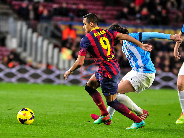 League BBVA 2013/2014 - Game: 21.<br /> FC Barcelona vs Malaga CF: 3-0.<br /> Alexis Sanchez vs Sergio Sanchez.
