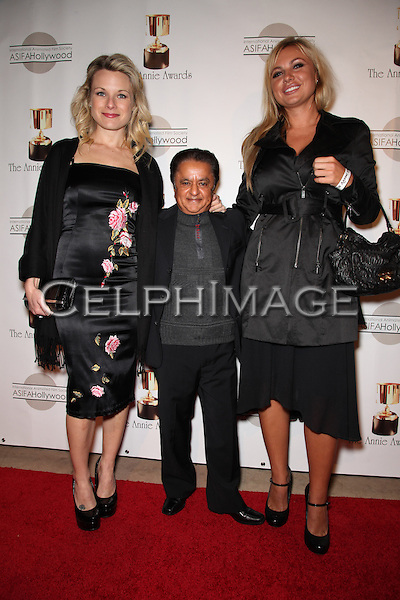 ERIN RAFFERTY, DEEP ROY, BEATE ANTARES. Red Carpet arrivals to the 37th Annual Annie Awards Gala at Royce Hall on the UCLA campus. Los Angeles, CA, USA. February 6, 2010.