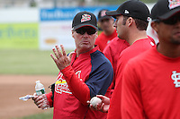 Batavia Muckdogs pitching coach Ace Adams instructing pitchers during the first day of practice for the start of the NY-Penn League season at the Dwyer Stadium in Batavia, New York;  June 13, 2011.  Photo By Mike Janes/Four Seam Images
