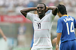 07 August 2008: Freddy Adu (USA) (11) reacts to missing a shot.  The men's Olympic team of the United States defeated the men's Olympic soccer team of Japan 1-0 at Tianjin Olympic Center Stadium in Tianjin, China in a Group B round-robin match in the Men's Olympic Football competition.