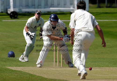 Aberdeenshire CC V Grange CC, Lloyds TSB Scottish Cup, played at Mannofield, Aberdeen - Grange and Scotland batsman Neil McCallum survives a yorker attempt by Aberdeenshire bowler Brad Roden, with 'Shire keeper Matthew Cross waiting for a slip - Picture by Donald MacLeod 21.06.09