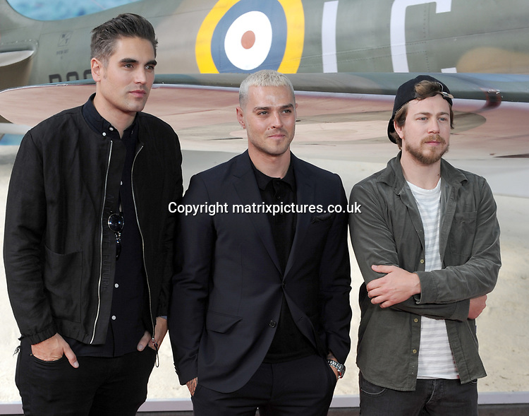 NON EXCLUSIVE PICTURE: MATRIXPICTURES.CO.UK<br /> PLEASE CREDIT ALL USES<br /> <br /> WORLD RIGHTS<br /> <br /> Charlie Simpson, Matt Willis and James Bourne from Busted attend the World Premiere of Dunkirk at Odeon Leicester Square in London.<br /> <br /> JULY 13th 2017<br /> <br /> REF: TST 171544