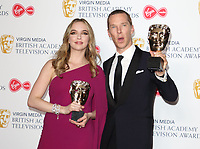 Benedict Cumberbatch and Jodie Comer at the Virgin Media BAFTA Television Awards 2019 - Press Room at The Royal Festival Hall, London on May 12th 2019<br /> CAP/ROS<br /> ©ROS/Capital Pictures