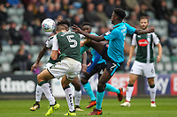 Fleetwood Town's  Jordy Hiwula competing with Plymouth Argyle's Ryan Edwards<br /> <br /> Photographer Andrew Kearns/CameraSport<br /> <br /> The EFL Sky Bet League One - Plymouth Argyle v Fleetwood Town - Saturday 7th October 2017 - Home Park - Plymouth<br /> <br /> World Copyright &copy; 2017 CameraSport. All rights reserved. 43 Linden Ave. Countesthorpe. Leicester. England. LE8 5PG - Tel: +44 (0) 116 277 4147 - admin@camerasport.com - www.camerasport.com