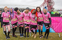 Pink Ladies pose for a photo are finishing 4th (l-r) Janet Devlin (X-Factor), Yaz (Alien Uncovered), Natalie (Alien Uncovered), Madison (Alien Uncovered), Temple (Alien Uncovered), Kiera Weathers (X-Factor) & Shae (Alien Uncovered) during the SOCCER SIX Celebrity Football Event at the Queen Elizabeth Olympic Park, London, England on 26 March 2016. Photo by Andy Rowland.