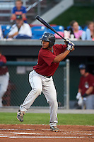 Mahoning Valley Scrappers designated hitter Juan De La Cruz (45) at bat during a game against the Auburn Doubledays on September 4, 2015 at Falcon Park in Auburn, New York.  Auburn defeated Mahoning Valley 5-1.  (Mike Janes/Four Seam Images)