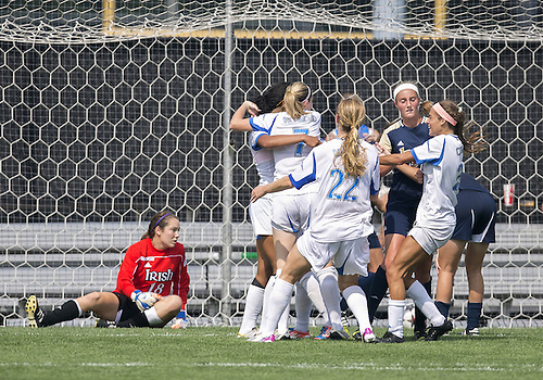 September 01, 2013:  UCLA players celebrate goal during NCAA Soccer match between the Notre Dame Fighting Irish and the UCLA Bruins at Alumni Stadium in South Bend, Indiana.  UCLA defeated Notre Dame 1-0.