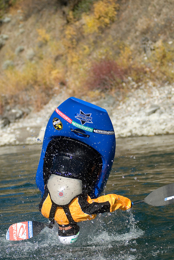 Male whitewater kayaker in yellow paddle jacket, white helmet and blue kayak upside down as he flips his kayak end over end in an endo, Snake River, Jackson,  Wyoming.