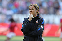 Seattle, WA - Thursday July 27, 2017: Jill Ellis during a 2017 Tournament of Nations match between the women's national teams of the United States (USA) and Australia (AUS) at CenturyLink Field.
