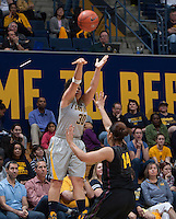 Mikayla Lyles of California shoots the ball during the game against Arizona State at Haas Pavilion in Berkeley, California on February 16th, 2014.  California defeated Arizona State, 74-63.