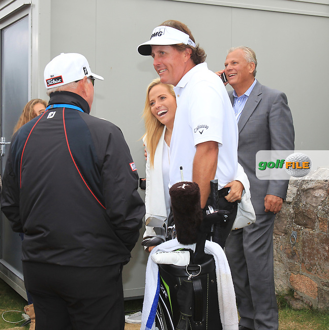 Butch Harmon ( back to camera) congratulates Phil MICKELSON (USA) on becoming The Champion Golfer at the 142th Open Championship Muirfield, Gullane, East Lothian, Scotland 21/7/2013<br /> Picture Eoin Clarke www.golffile.ie: