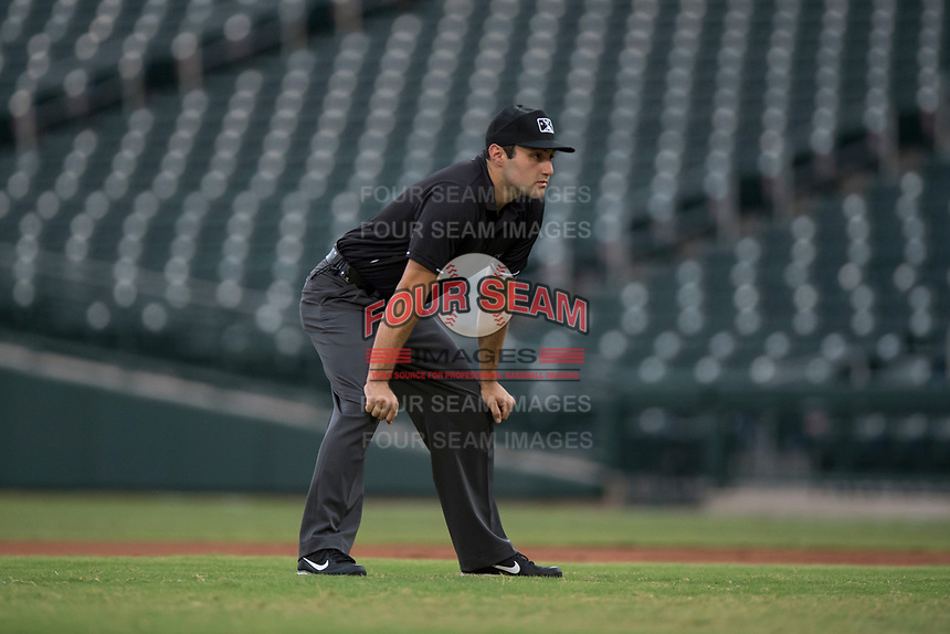 Field umpire Alan Gorewitz during an Arizona League game between the AZL Rangers and the AZL Cubs 2 at Sloan Park on July 7, 2018 in Mesa, Arizona. AZL Rangers defeated AZL Cubs 2 11-2. (Zachary Lucy/Four Seam Images)