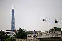 31-05-13, Tennis, France, Paris, Roland Garros, Court Philippe Chatrier with flags and the Eiffeltower in the background
