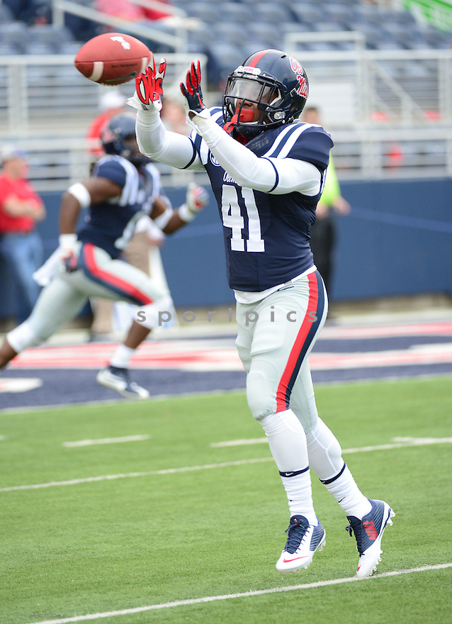 Ole Miss Rebels Antwain Smith (41) during a game against the New Mexico State Aggies on October 10, 2015 at Vaught-Hemingway Stadium  in Oxford, MS. Ole Miss beat New Mexico State 52-3.