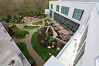 Yale-New Haven Health Park Avenue Medical Center. Architect: Shepley Bulfinch. Contractor: Gilbane Building Company, Glastonbury, CT. James R Anderson Photography, New Haven CT photog.com. Date of Photograph 4 May 2016  Submission 25  © James R Anderson. Healing Garden from Rooftop View.