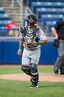 Lynchburg Hillcats catcher Sicnarf Loopstok (30) jogs off the field between innings of the game against the Salem Red Sox at LewisGale Field at Salem Memorial Baseball Stadium on August 7, 2016 in Salem, Virginia.  The Red Sox defeated the Hillcats 11-2.  (Brian Westerholt/Four Seam Images)