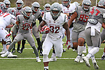 James Williams heads for the endzone during the annual Washington State Cougar spring game, the Crimson and Gray game, at Joe Albi Stadium in Spokane, Washington, on April 23, 2016.