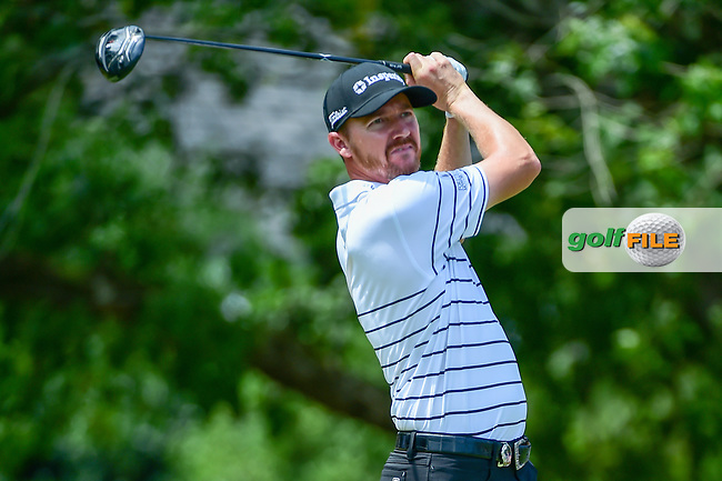 Jimmy Walker (USA) watches his tee shot on 5 during Thursday's round 1 of the PGA Championship at the Quail Hollow Club in Charlotte, North Carolina. 8/10/2017.<br /> Picture: Golffile | Ken Murray<br /> <br /> <br /> All photo usage must carry mandatory copyright credit (&copy; Golffile | Ken Murray)