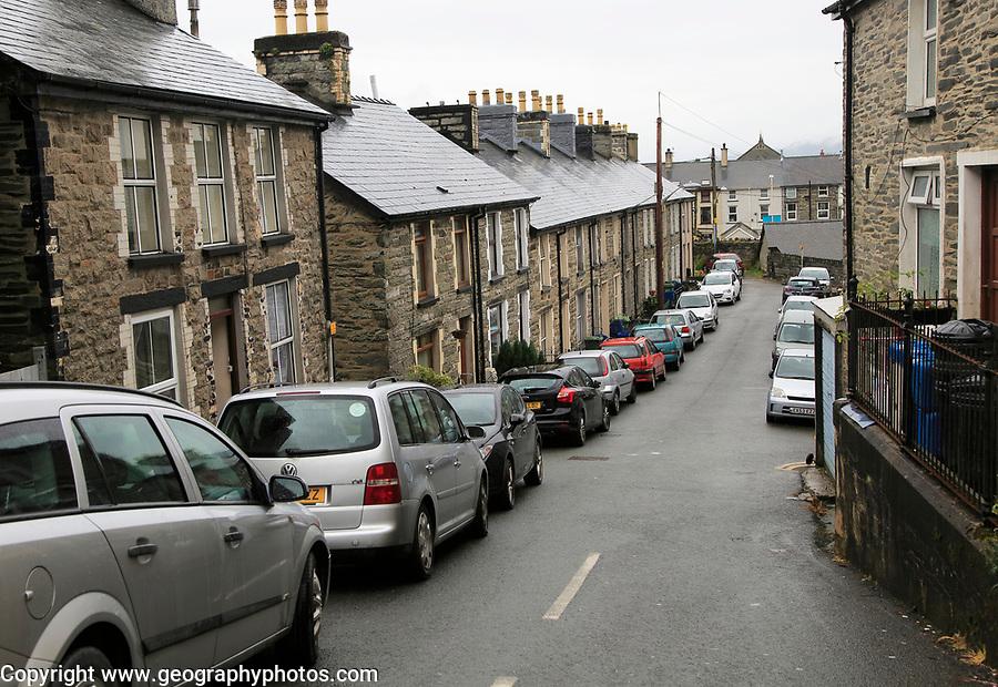 Street of terraced housing in Blaenau Ffestiniog, Gwynedd, north Wales, UK