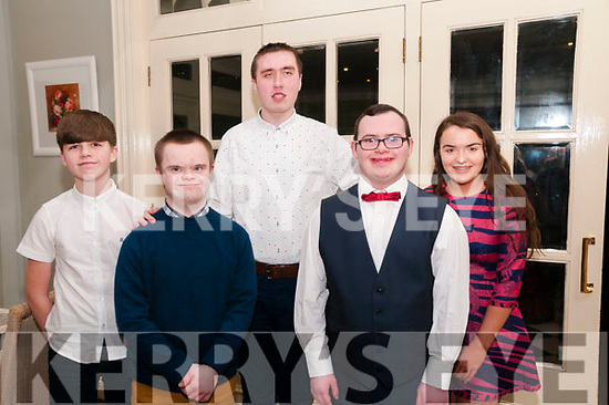 Nano Nagle Social :  Attending the Nano Nagle School, Listowel social at the Listowel Arms Hotel on Friday night last were Alex Erswell, J.P. O'Brien, Jack Sheehan, Paul Scanlon & Caoimhe Butler.