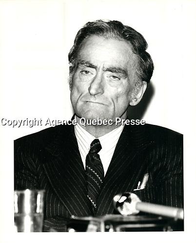 Claude RYAN, chef du PLQ, le 5 fevrier 1980<br /> <br /> <br /> <br /> PHOTO :  Agence Quebec Presse