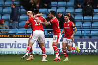 Kieffer Moore celebrates scoring Barnsley's opening goal with Cameron McGeehan during Gillingham vs Barnsley, Sky Bet EFL League 1 Football at The Medway Priestfield Stadium on 9th February 2019