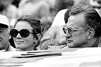 George C. Scott and wife Trish Van Devere behind the dugout viewing the American League Playoff between the Oakland A's and the Detroit Tigers.(1972 photo/Ron Riesterer)