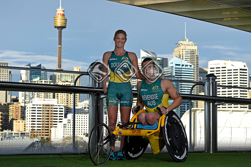 Sporting 2XU gear (L-R)  Kate Doughty and Nic Beveridge / Para-tri athletes<br /> 2016 APC RIO Uniform Launch with the city of Sydney as the backdrop shot from the Star Casino<br /> Australian Paralympic Committee<br /> Star Casino / Sydney / NSW<br /> Monday 6 June 2016<br /> &copy; Sport the library / Jeff Crow