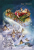 Interlitho, Patricia, CHRISTMAS SANTA, SNOWMAN, nostalgic, paintings, santa, sleigh, village(KL5425,#X#)