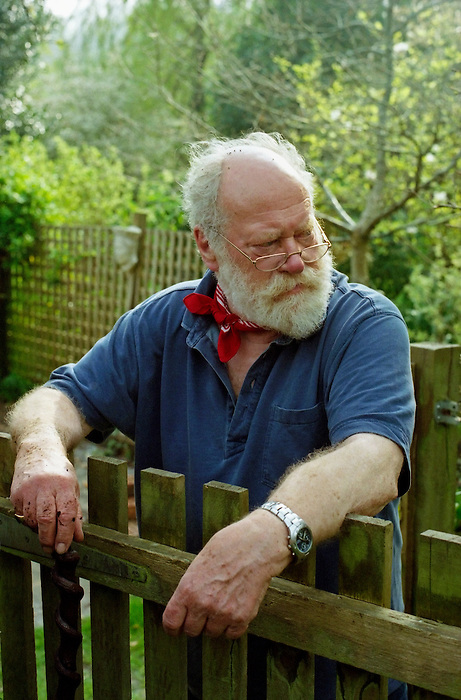 Dr Colin Smith in his garden. Beaminster,Dorset. 2007.