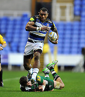 Semesa Rokoduguni of Bath Rugby gets past Tom Guest of London Irish. Aviva Premiership match, between London Irish and Bath Rugby on November 7, 2015 at the Madejski Stadium in Reading, England. Photo by: Patrick Khachfe / Onside Images