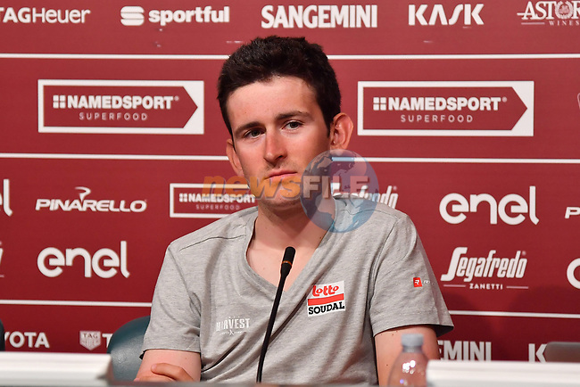 Last year's winner Tiesj Benoot (BEL) Lotto-Soudal press conference ahead of the 2019 Strade Bianche running 184km from Siena to Siena, held over the white gravel roads of Tuscany, Italy. 8th March 2019.<br /> Picture: LaPresse/Gian Mattia D'Alberto | Cyclefile<br /> <br /> <br /> All photos usage must carry mandatory copyright credit (© Cyclefile | LaPresse/Gian Mattia D'Alberto)